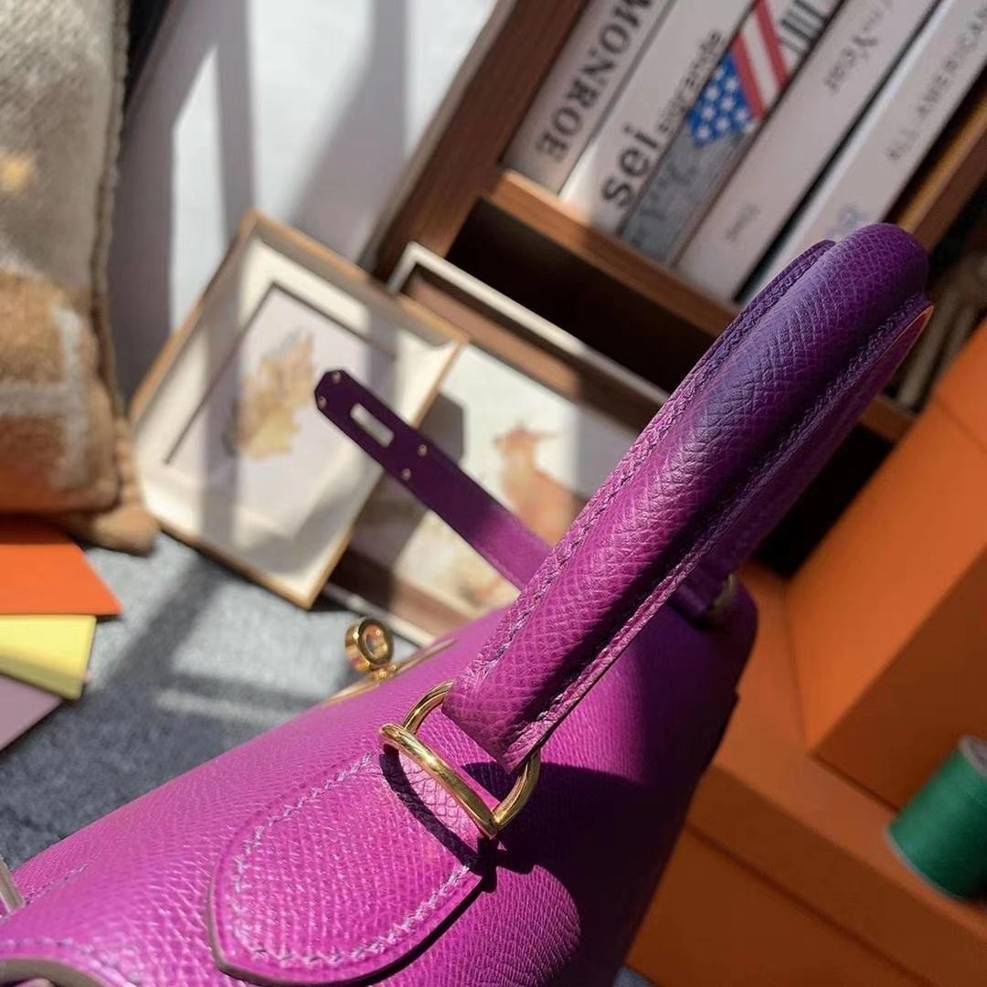 Hermès(爱马仕)P9海葵紫 原厂御用顶级Epsom 皮 Kelly 25 外缝 金扣