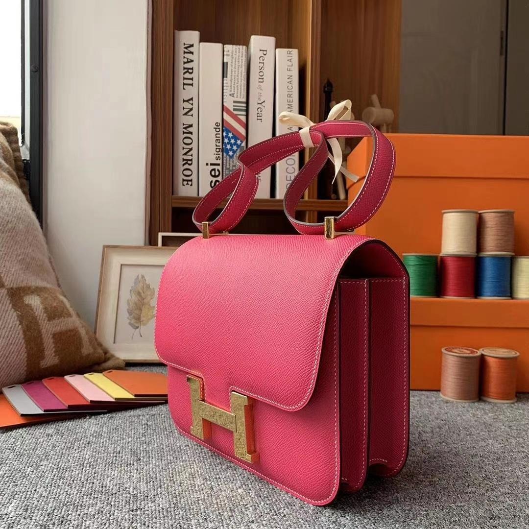 Hermès(爱马仕)E5糖果粉 原厂御用顶级Epsom 皮 Constance 24 金扣