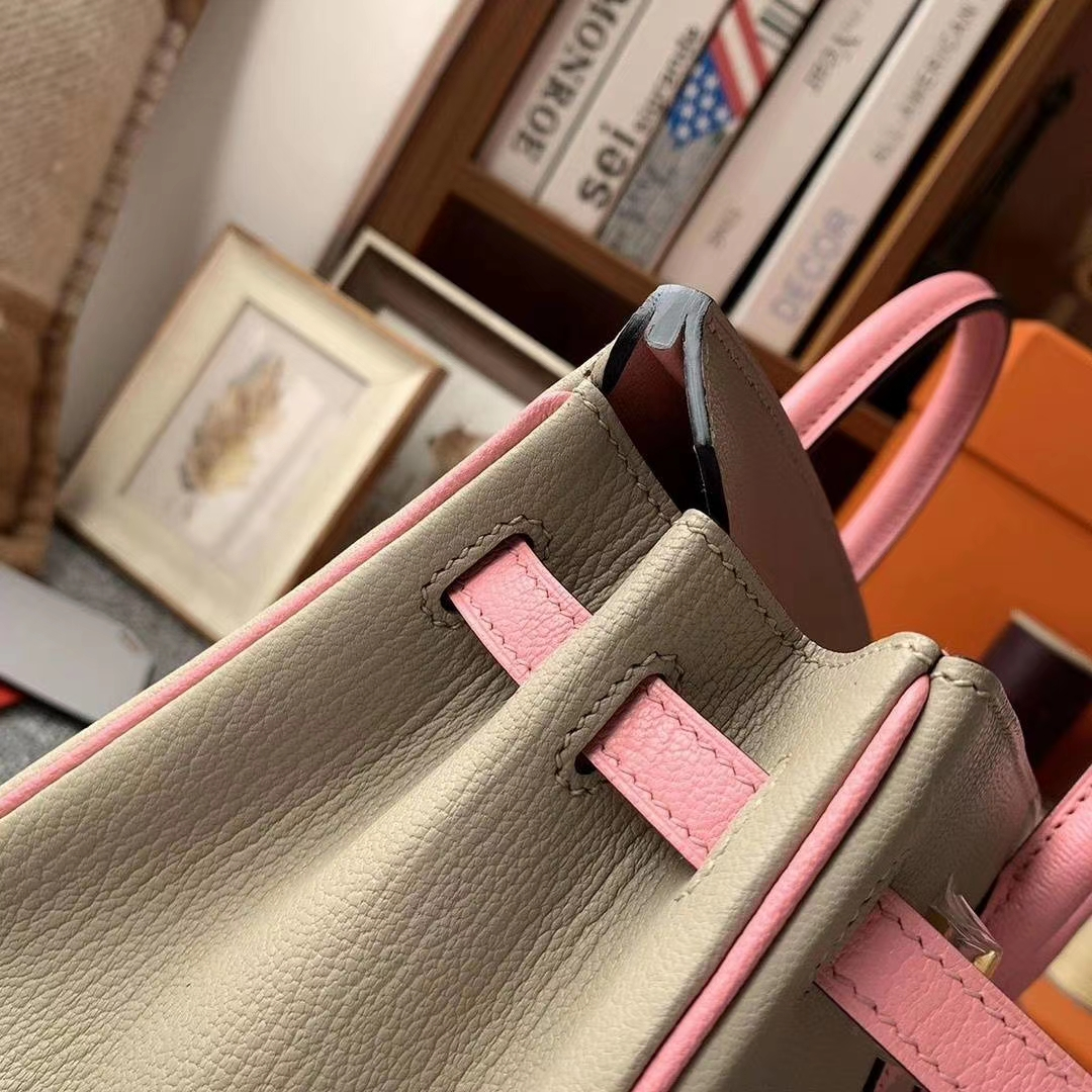 Hermès(爱马仕)CK81斑鸠灰拼3Q新樱花粉 原厂御用顶级山羊皮 Birkin 25 金扣