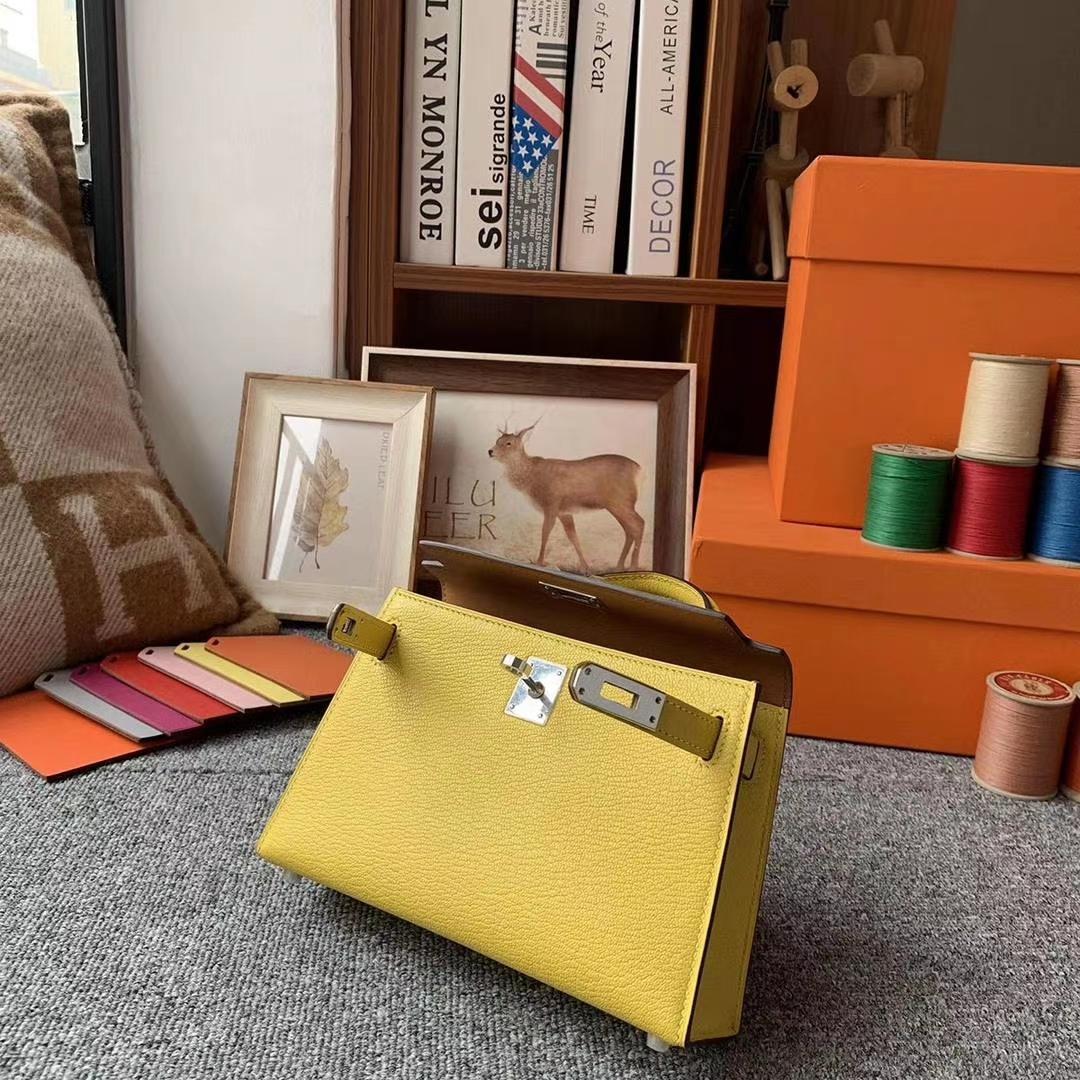 Hermès(爱马仕)那不勒斯黄拼金棕色 原厂御用顶级山羊皮 Mini Kelly 二代 银扣