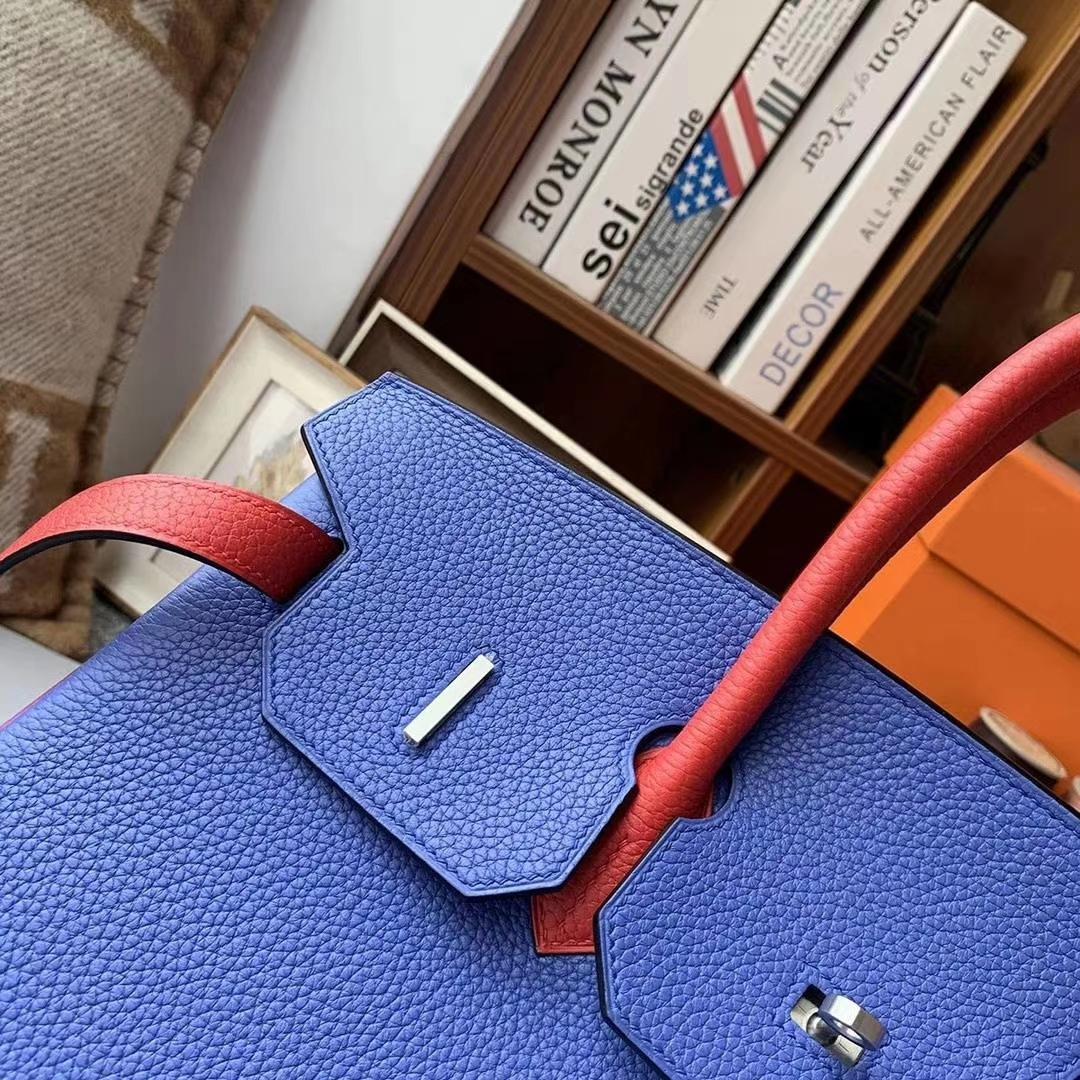 Hermès(爱马仕)7E明蓝色拼Q5中国红 原厂御用顶级TC皮 Birkin 35 银拉丝扣