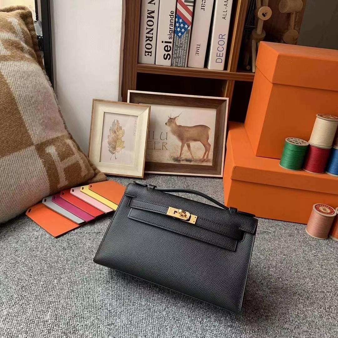 Hermès(爱马仕)CK89黑色 原厂御用顶级Epsom 皮 Mini Kelly 金扣 现货