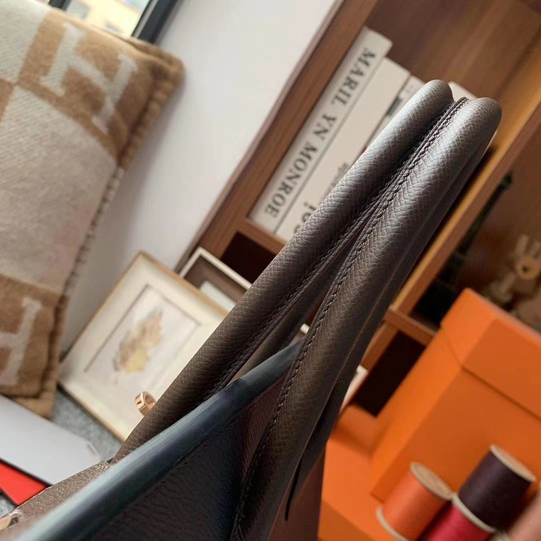 Hermès(爱马仕)CK76靛蓝色拼4H深咖啡 原厂御用顶级Epsom 皮 Birkin 35 玫瑰金扣