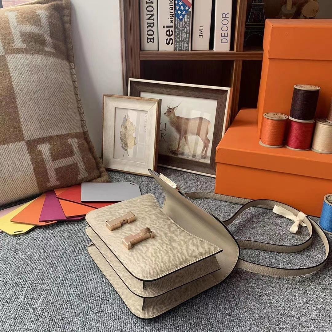 Hermès(爱马仕)S2风衣灰 原厂御用顶级Epsom 皮 Constance 19 玫瑰金扣