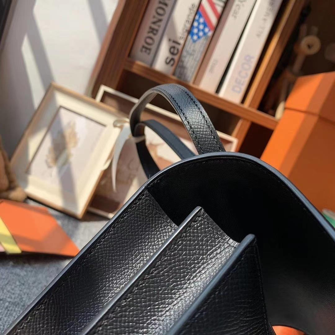 Hermès(爱马仕)CK89黑色 原厂御用顶级Epsom 皮 Constance 19 银扣