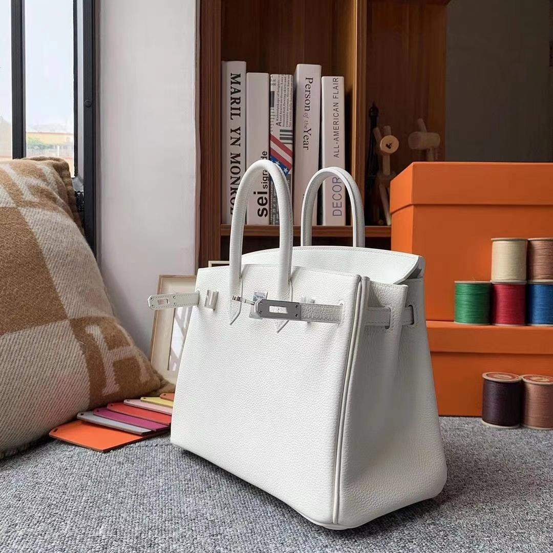 Hermès(爱马仕)纯白色 原厂御用顶级小牛皮 Birkin25 银扣