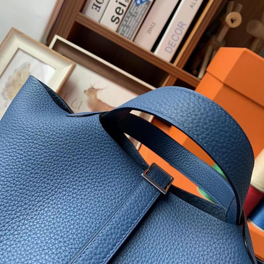 Hermès(爱马仕)M3墨水蓝 原厂御用顶级TC皮 Picotin  Lock 18cm 银扣