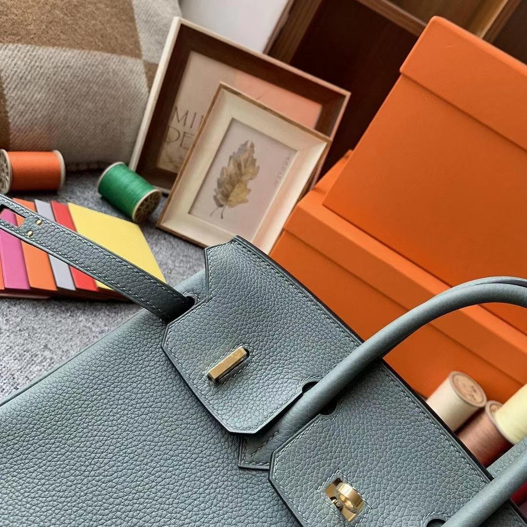 Hermès(爱马仕)杏绿色 原厂御用顶级小牛皮 Birkin 25 金扣 银扣 现货