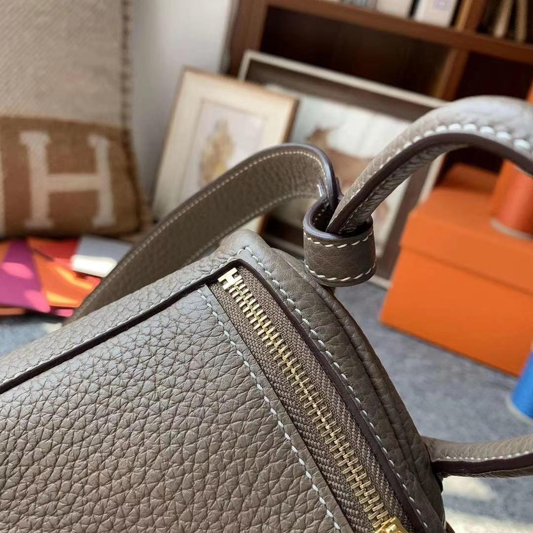 Hermès(爱马仕)CK18大象灰 原厂御用顶级TC皮 Mini Lindy 金扣
