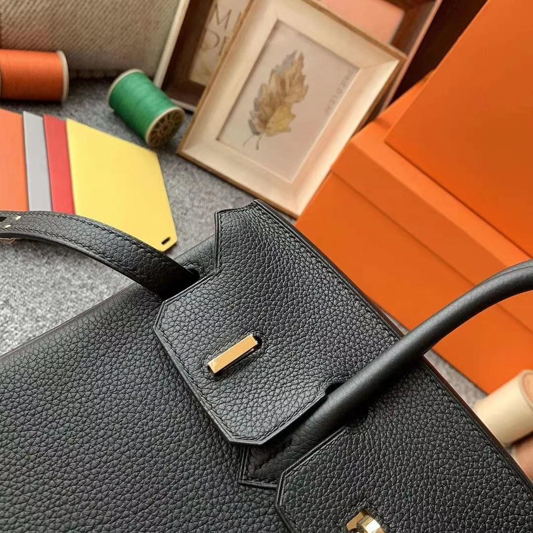 Hermès(爱马仕)黑色 原厂御用顶级小牛皮  Birkin 25 金扣 银扣