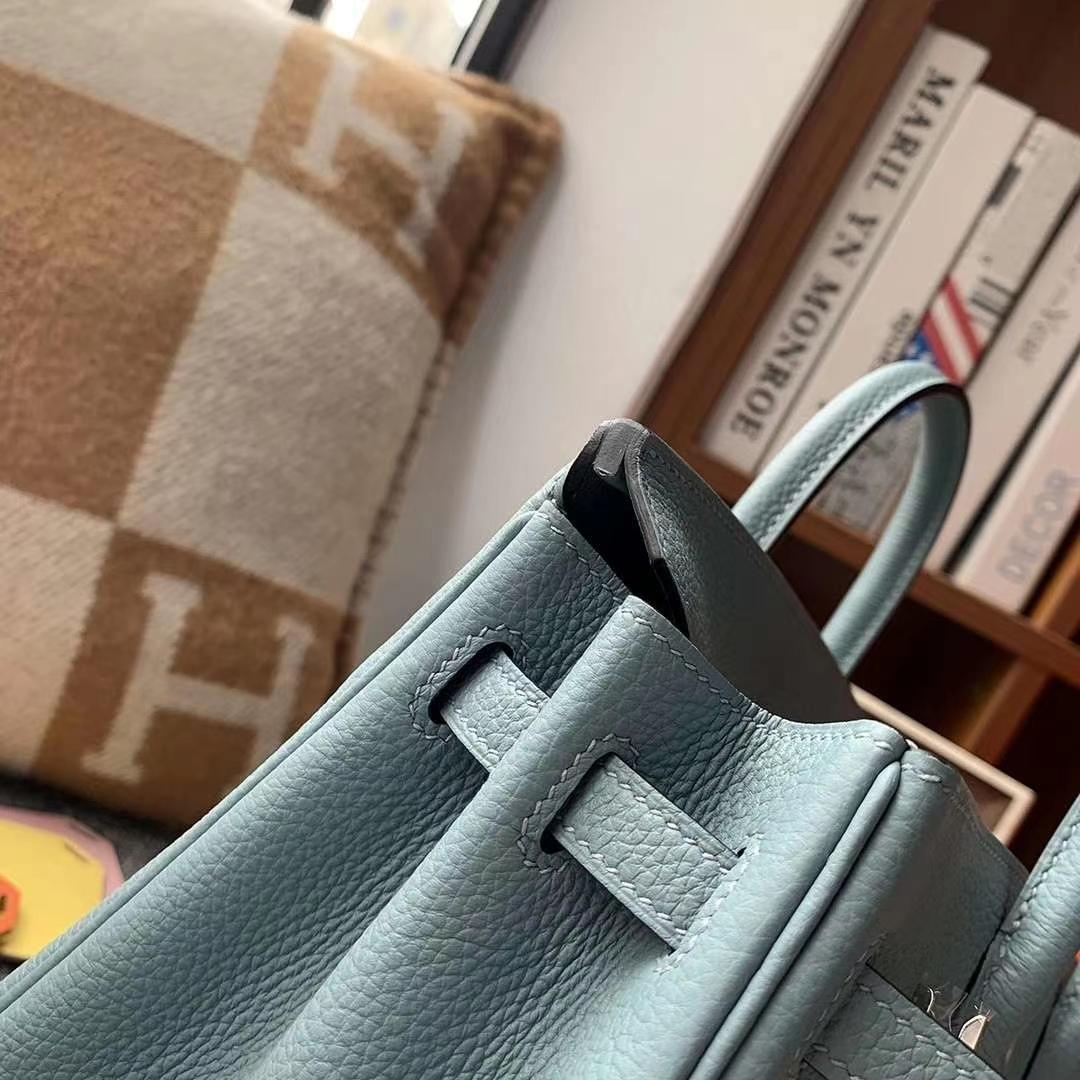 Hermès(爱马仕)天青色 原厂御用顶级小牛皮  Birkin 25 银扣