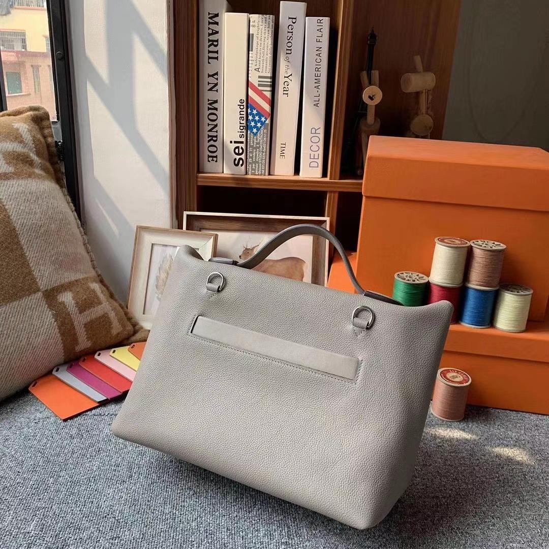 Hermès(爱马仕)M8沥青灰 原厂御用顶级小牛皮拼Swift 皮 2424 银扣