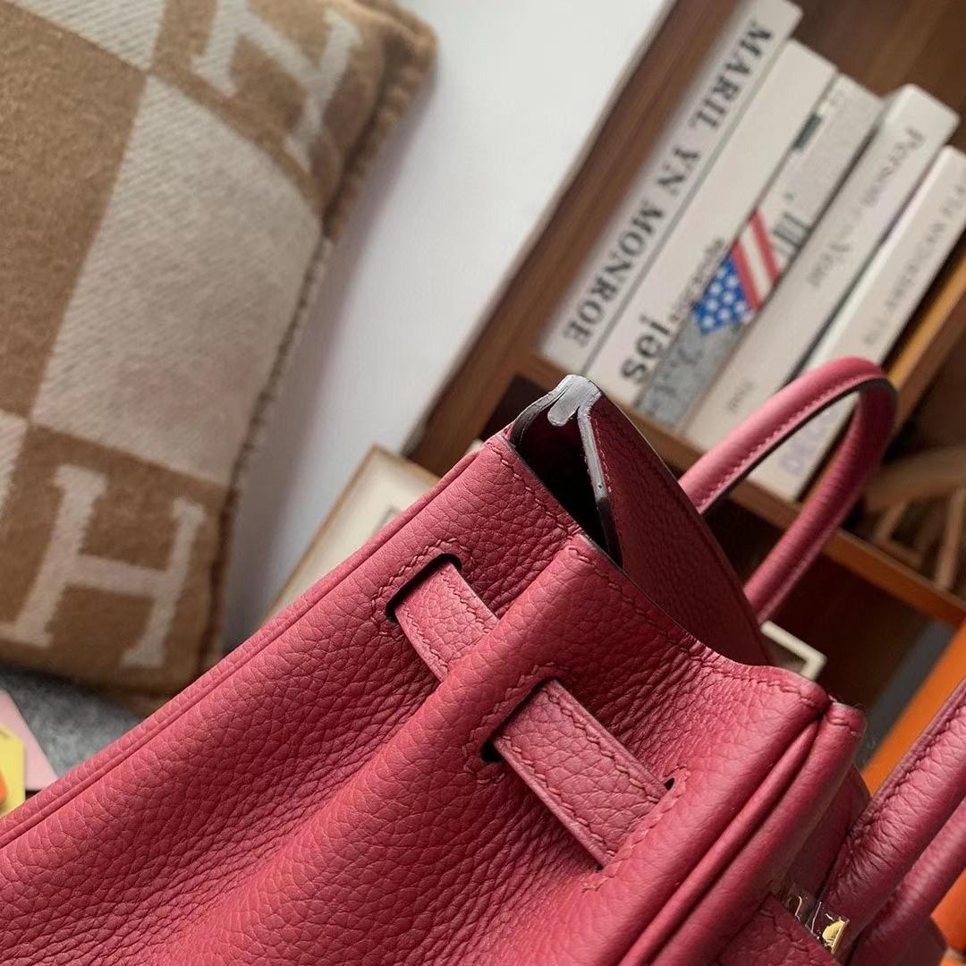 Hermès(爱马仕)K1石榴红 原厂御用顶级小牛皮 Birkin 25 金扣