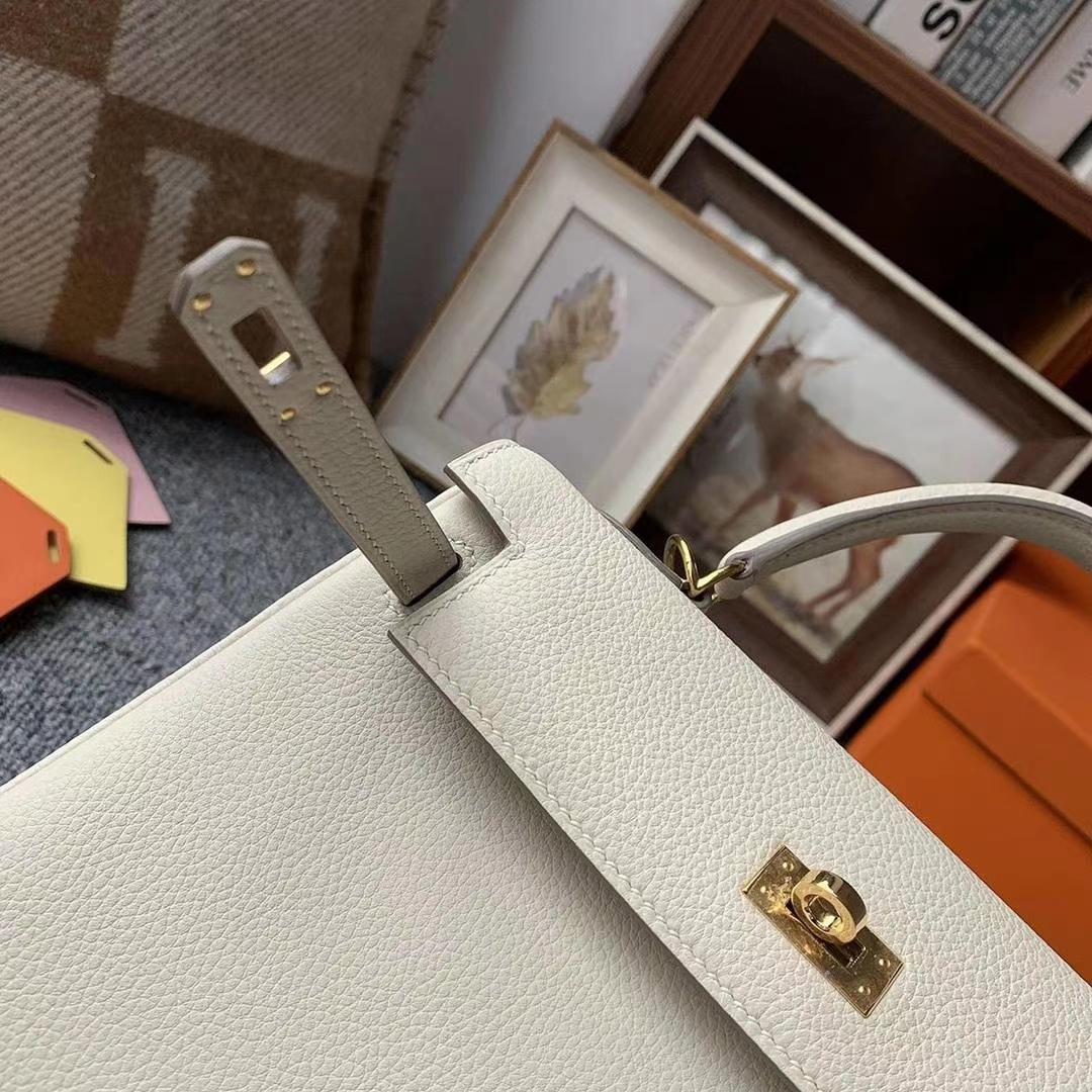 Hermès(爱马仕)奶昔白 原厂御用顶级小牛皮 Kelly 25 金扣