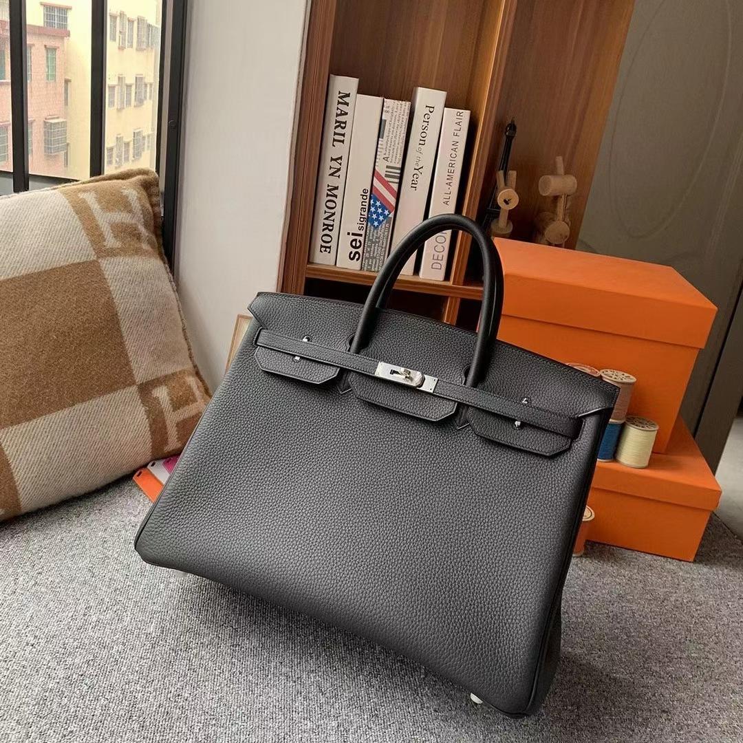 Hermès(爱马仕)CK89黑色 原厂御用顶级小牛皮 Birkin 40 银扣