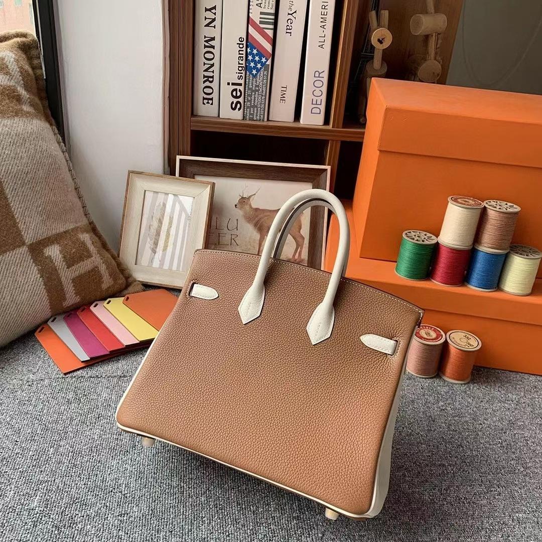 Hermès(爱马仕)金棕色拼奶昔白 原厂御用顶级小牛皮 Birkin 25 拉丝金扣