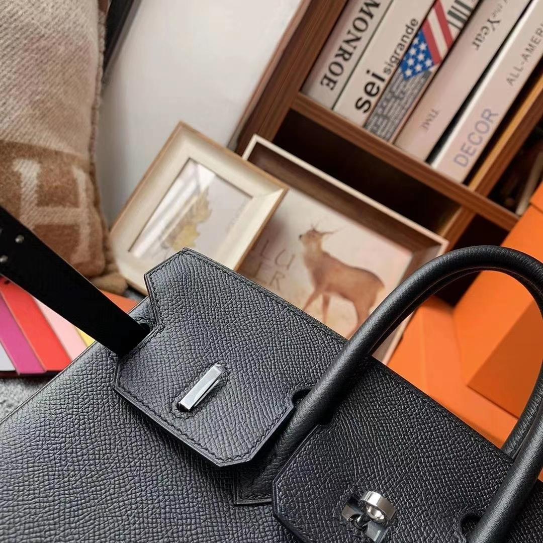 Hermès(爱马仕)CK89黑色  原厂御用顶级Epsom皮 Birkin 25 银扣
