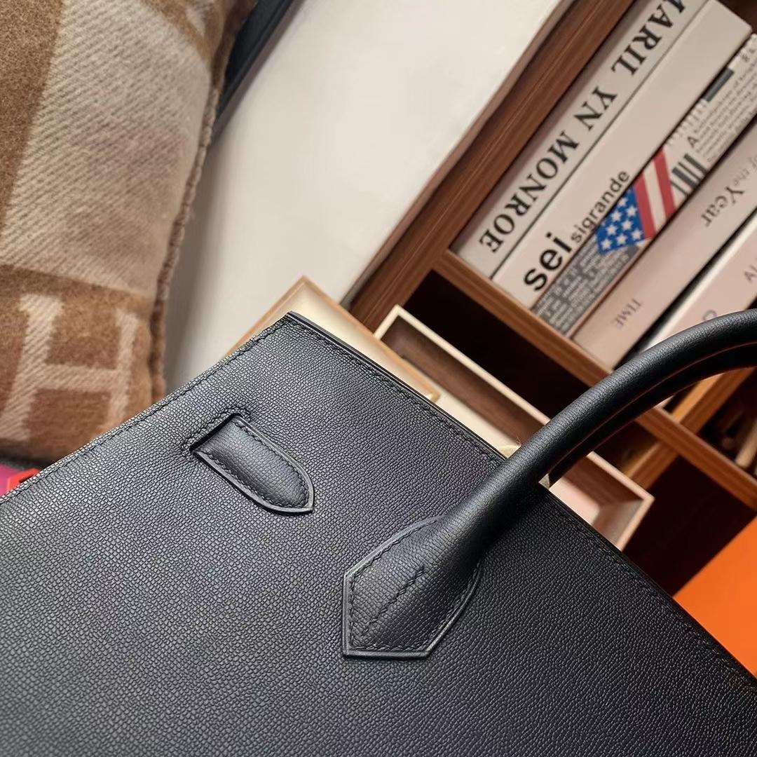 Hermès(爱马仕)CK89 黑色 原厂御用顶级Monsieur 皮 Birkin 30 银扣 外缝