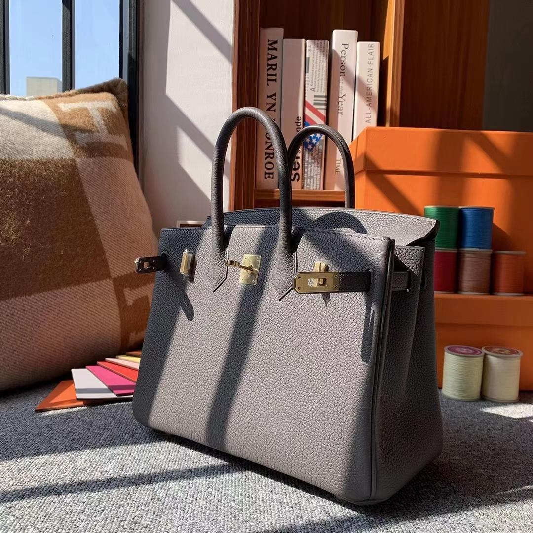Hermès(爱马仕)8F锡器灰 原厂御用顶级小牛皮 Birkin 25 金扣 银扣