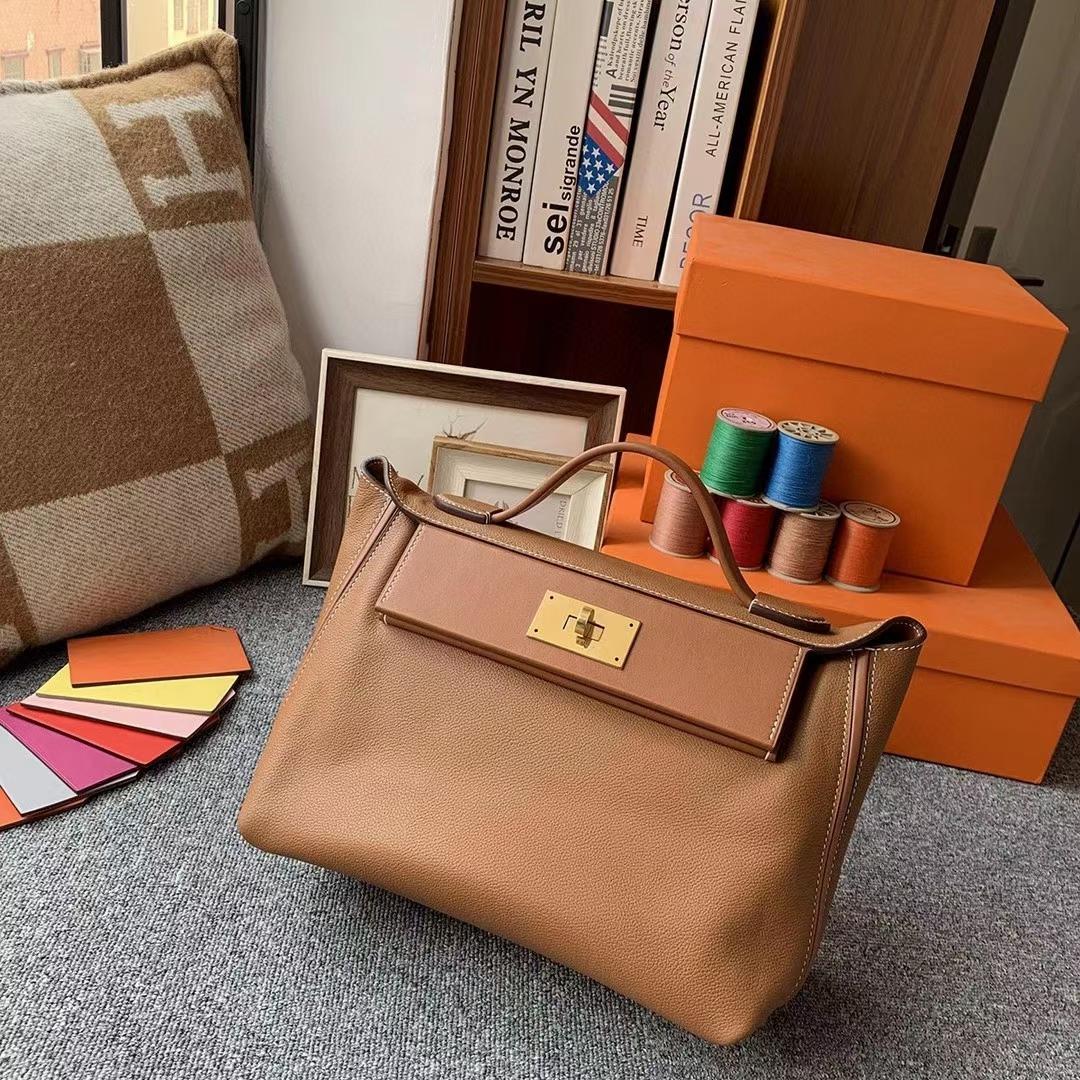 Hermès(爱马仕)C37金棕色 原厂御用顶级小牛皮拼Swift 皮 2424 金扣