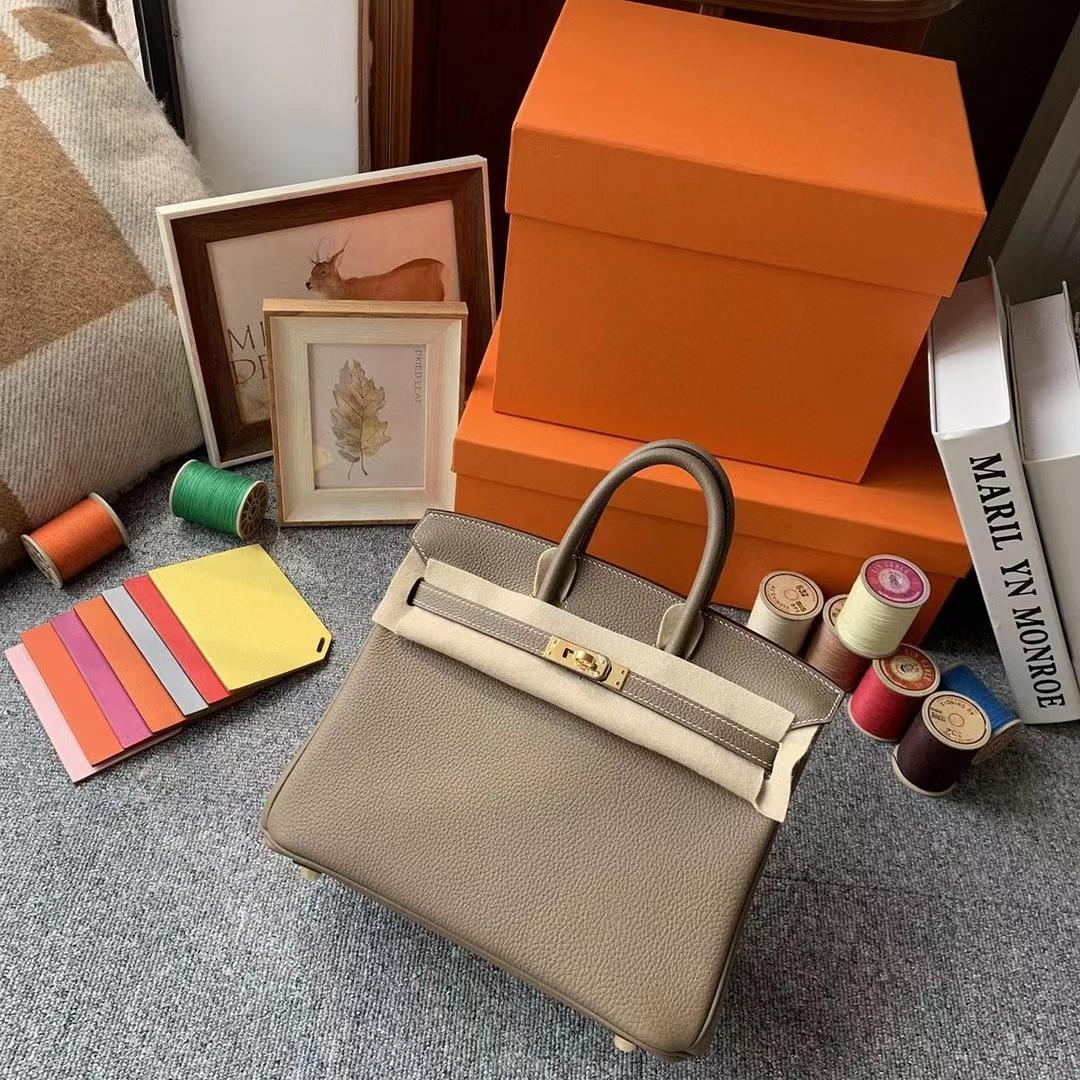 Hermès(爱马仕)CK18大象灰 原厂御用顶级小牛皮 Birkin 25 金扣 银扣