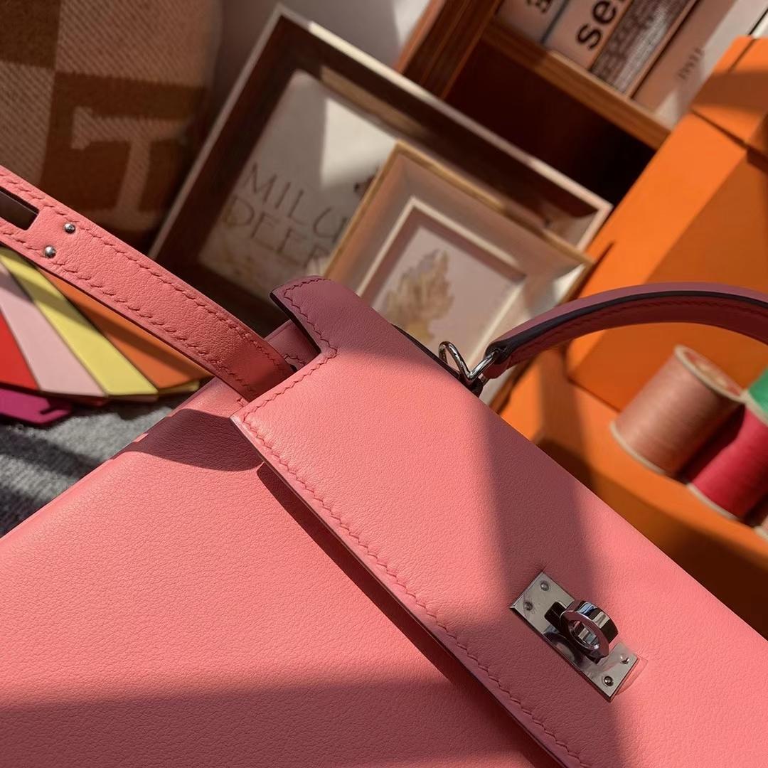 Hermès(爱马仕)K4玫瑰粉 原厂御用顶级Swift 皮 Kelly 25 银扣