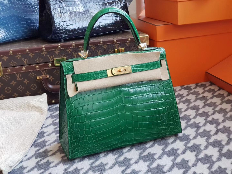 Hermès(爱马仕)Kelly 25cm nilo crocodile Hcp亮面两点鳄鱼 翡翠绿 银扣