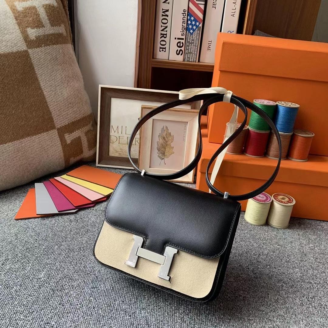 Hermès(爱马仕)CK89黑色 原厂御用顶级Box 皮 Constance 19 银扣 现货