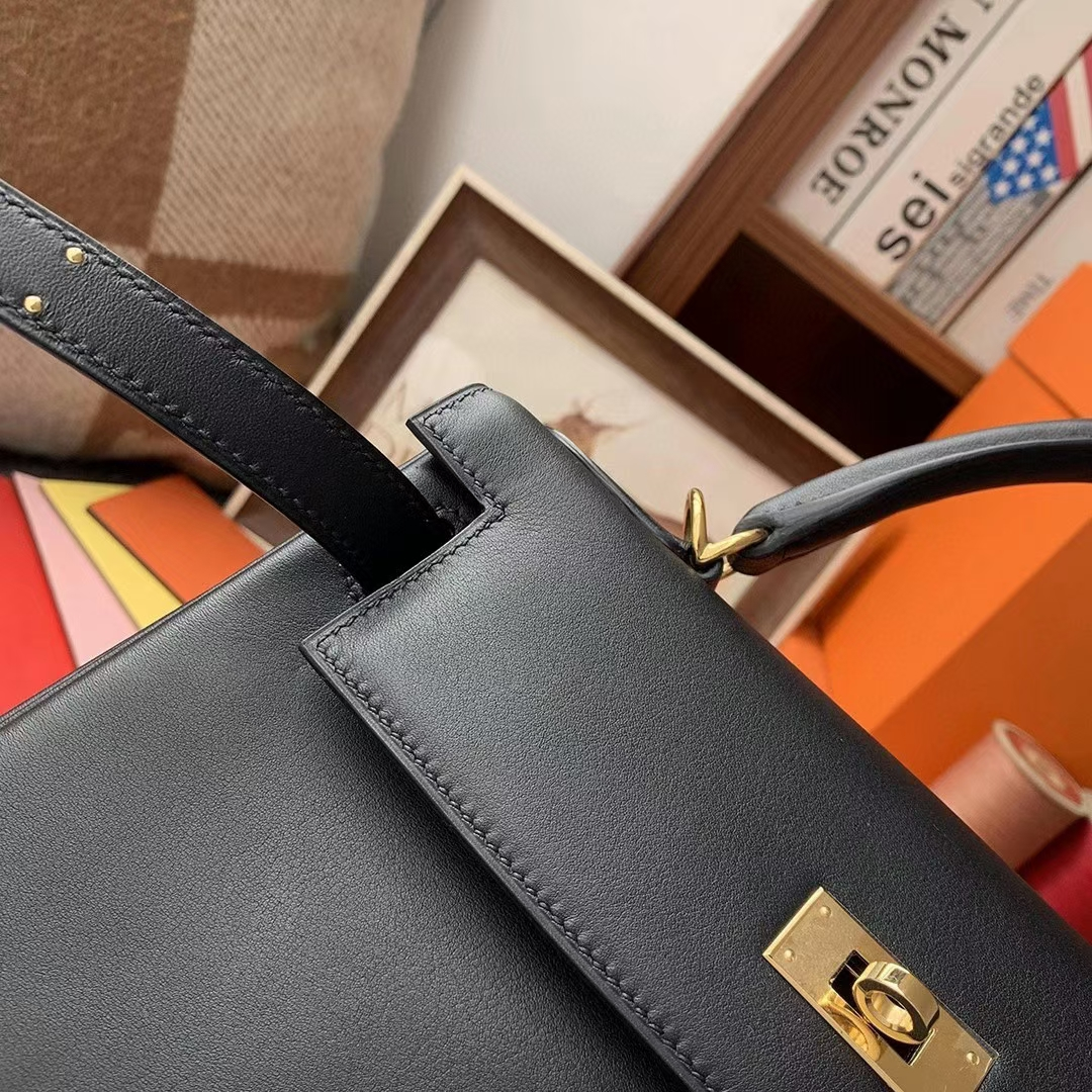 Hermès(爱马仕)CK89黑色 原厂御用顶级Swift 皮 Kelly 28 金扣