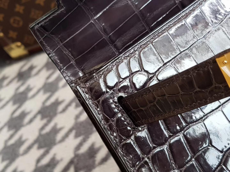 Hermès(爱马仕)Kelly 28 鳄鱼 铅笔灰 金扣