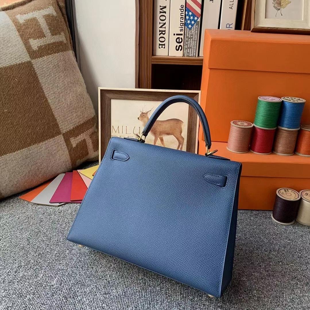 Hermès(爱马仕)R2玛瑙蓝 原厂御用顶级Epsom 皮 Kelly 25 外缝 金扣
