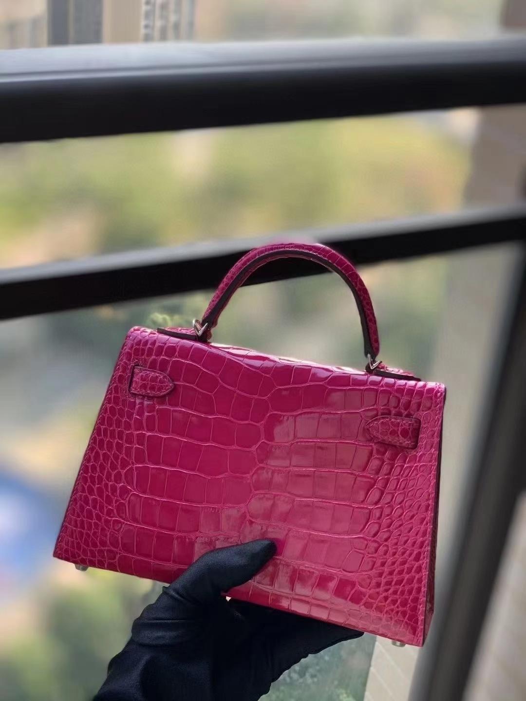 Hermès(爱马仕)E5 桃红 原厂御用顶级鳄鱼皮 Mini Kelly 二代 金扣 银扣