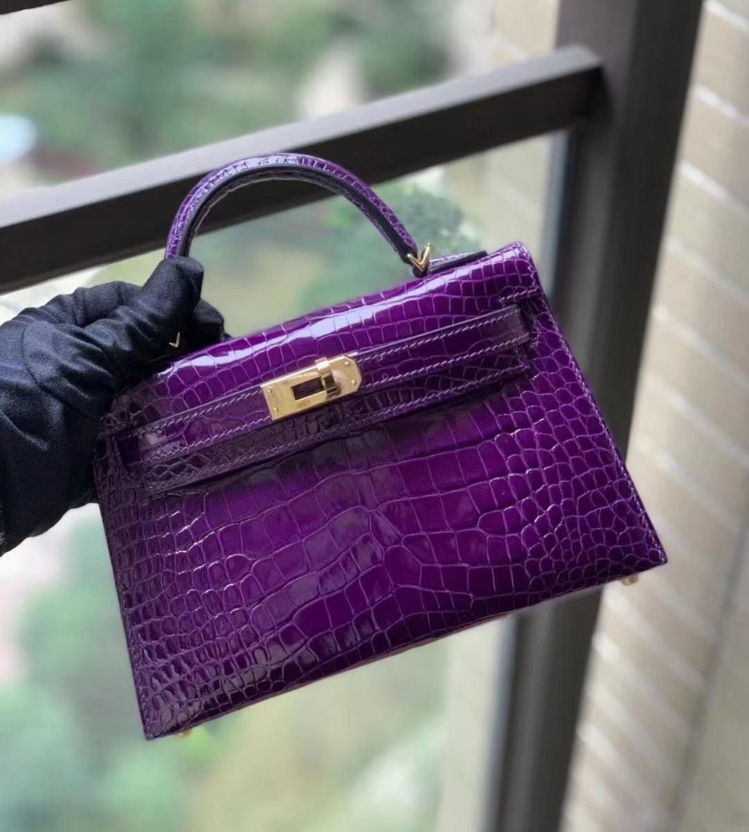Hermès(爱马仕)9G水晶紫 美洲鳄亮光 mini Kelly 二代  金扣