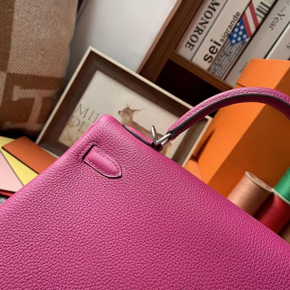 Hermès(爱马仕)L3玫瑰紫色 原厂御用顶级小牛皮 Kelly 25 银扣