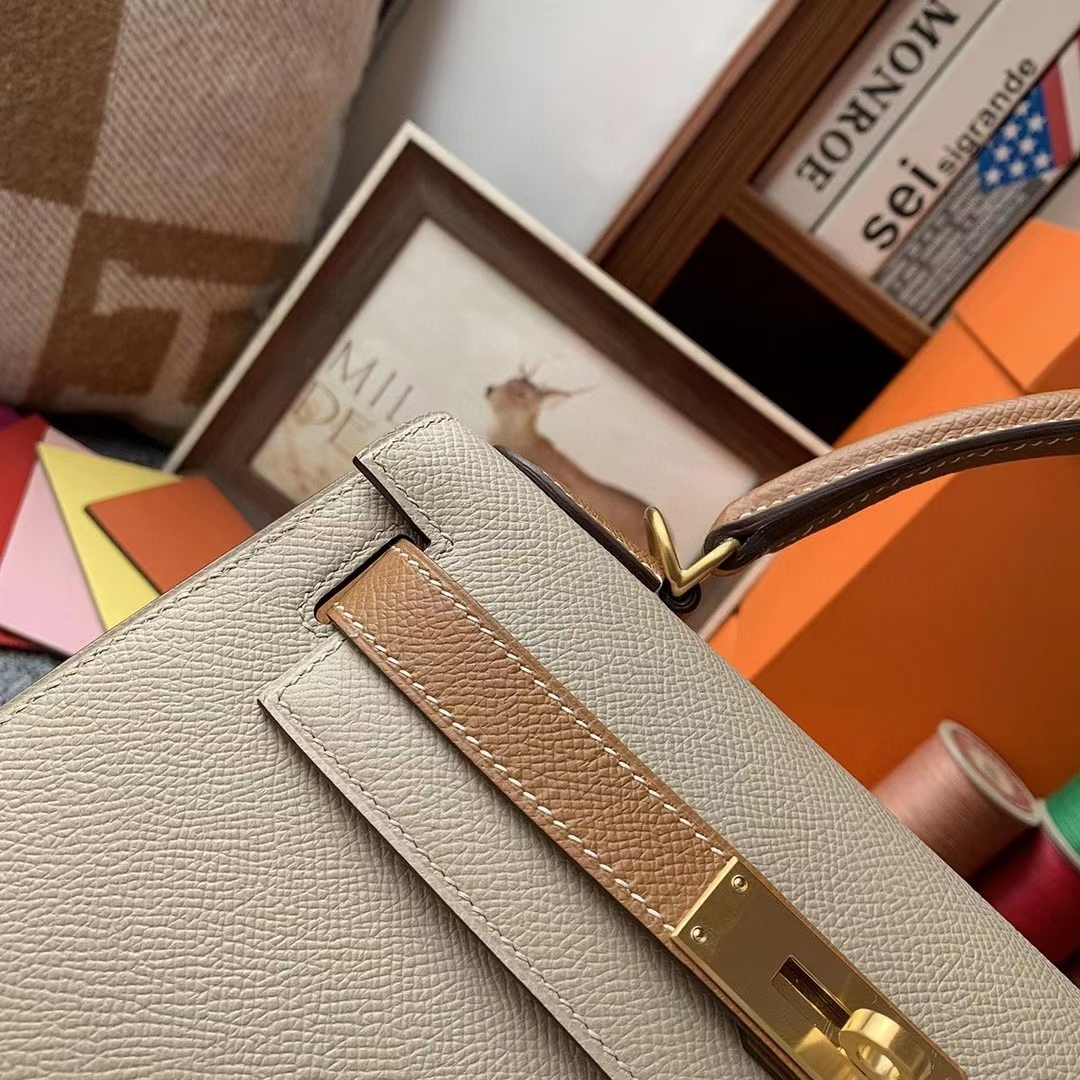Hermès(爱马仕)奶昔白拼C37金棕色 原厂御用顶级Epsom 皮 Kelly 28 外缝 金扣