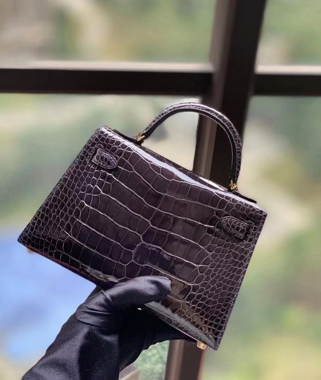 Hermès(爱马仕)CC88 石墨灰 美洲鳄 Mini Kelly 二代 金扣