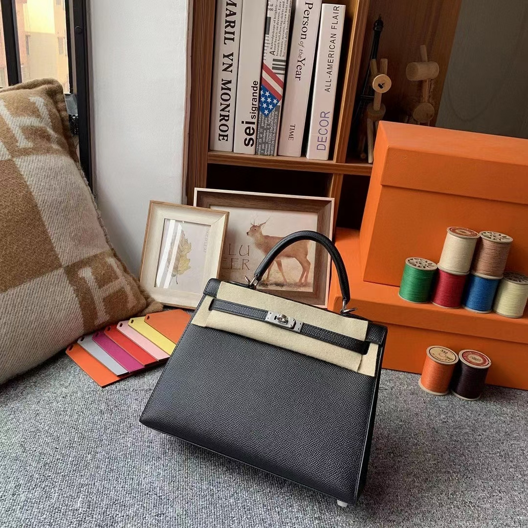 Hermès(爱马仕)cK89 黑色 原厂御用顶级Epsom 皮 Kelly 25 外缝 银扣