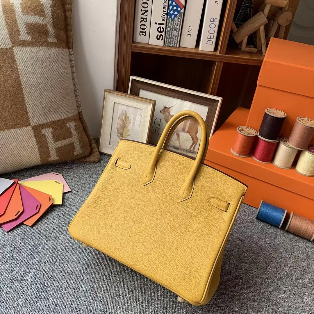 Hermès(爱马仕)9D琥珀黄 原厂御用顶级小牛皮 Birkin 25 金扣
