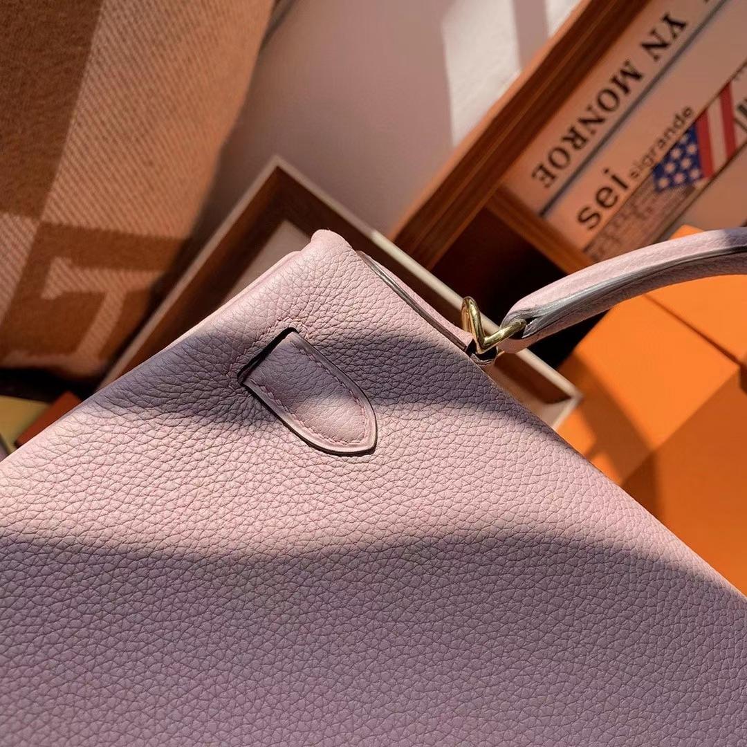 Hermès(爱马仕)4W紫藤色 原厂御用顶级小牛皮 Kelly 28 金扣