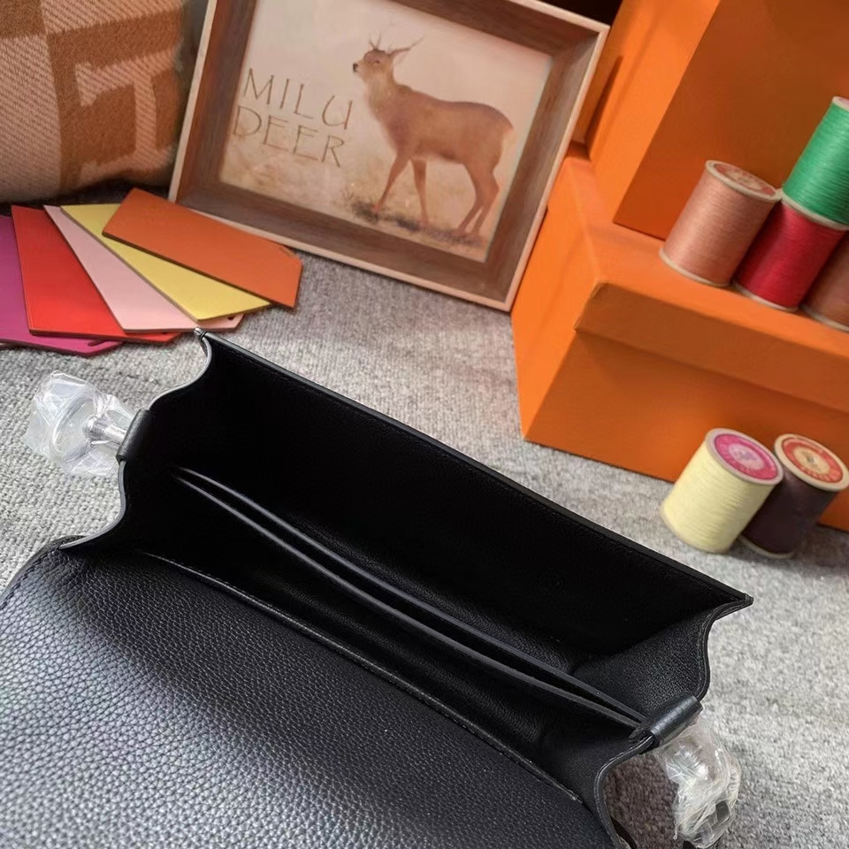 Hermès(爱马仕)CK89黑色 原厂御用顶级Ever Color 皮 Roulis 19 银扣