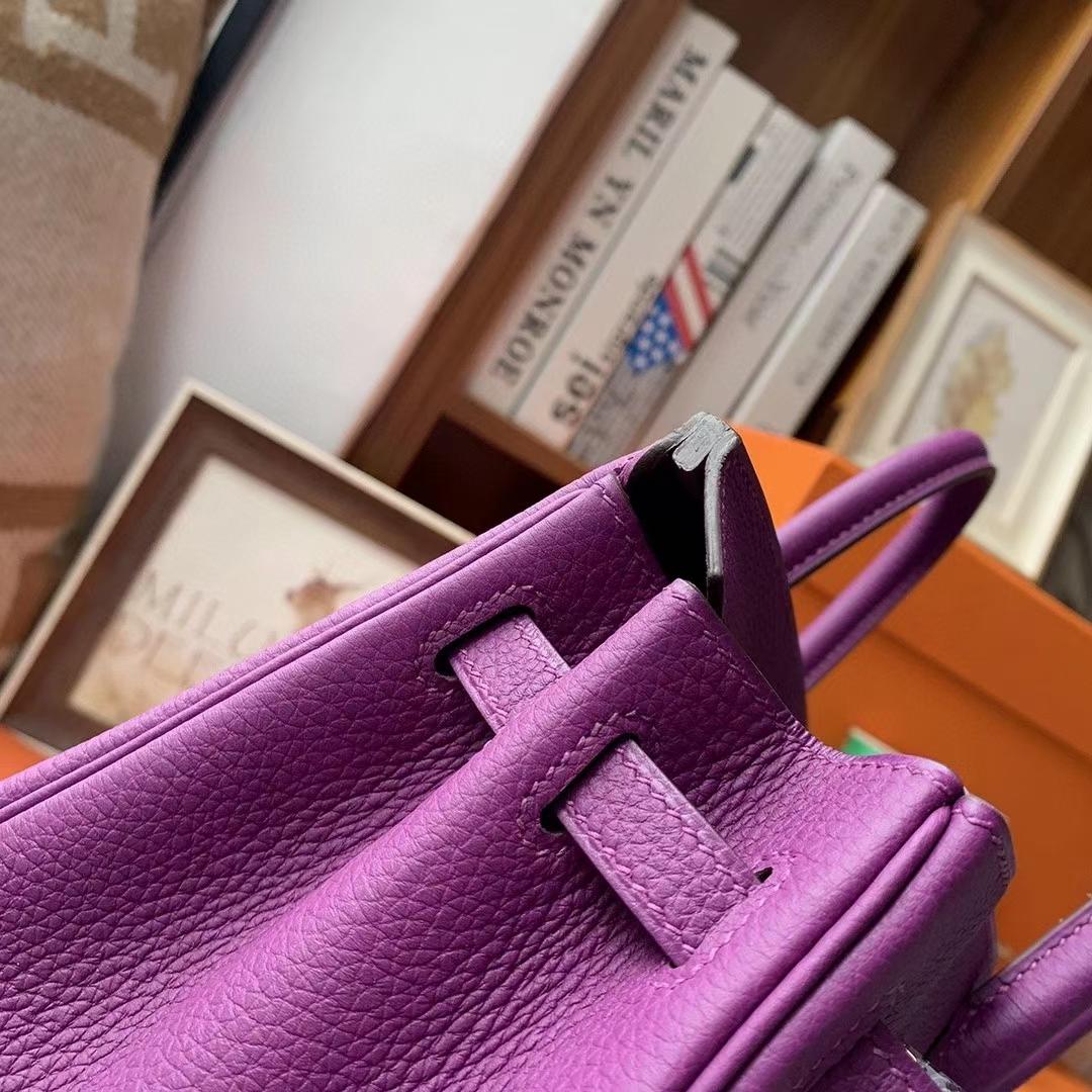 Hermès(爱马仕)P9海葵紫 原厂御用顶级小牛皮 Birkin 25 金扣