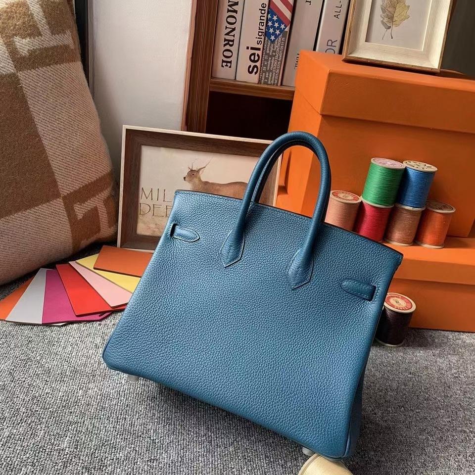 Hermès(爱马仕)7Q伊兹密尔蓝 原厂御用顶级小牛皮 Birkin 25 银扣