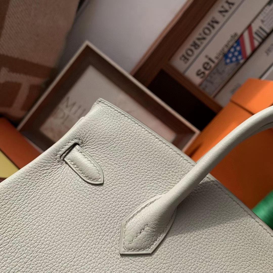 Hermès(爱马仕)C80珍珠灰 原厂御用顶级小牛皮 Birkin 25 银扣