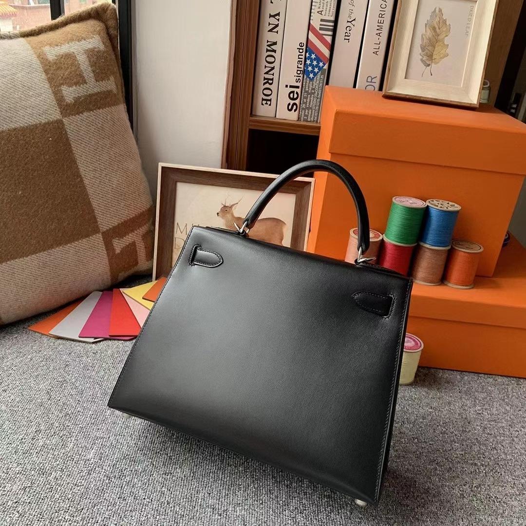 Hermès(爱马仕)CK89黑色 原厂御用顶级Box 皮 Kelly 28 外缝 银扣