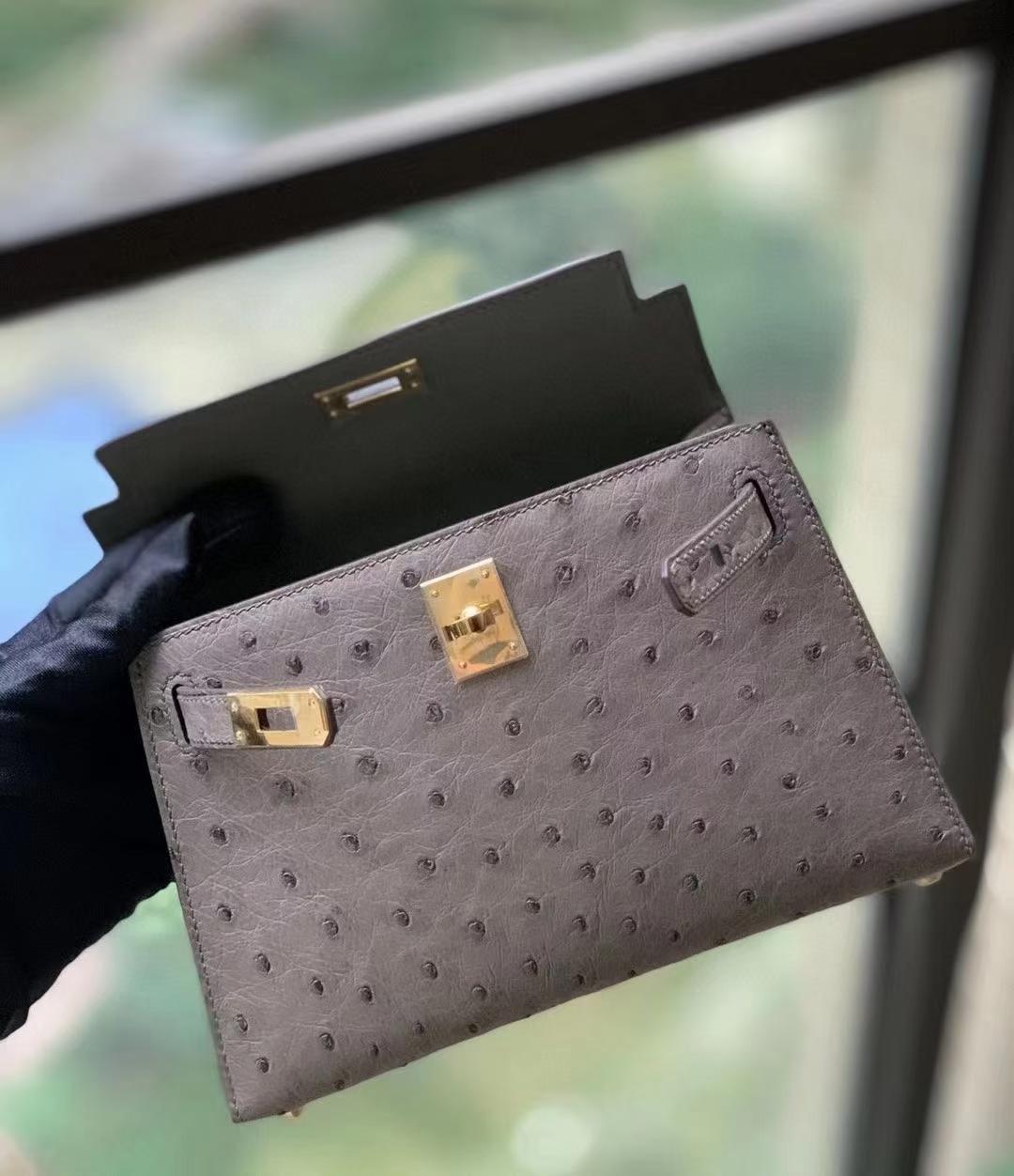 Hermès(爱马仕)M8沥青灰 KK鸵鸟皮 Mini Kelly 二代  金扣