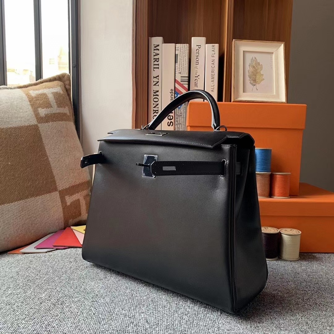 Hermès(爱马仕)CK89黑色 原厂御用顶级Box 皮 Kelly 32 内缝 So Black