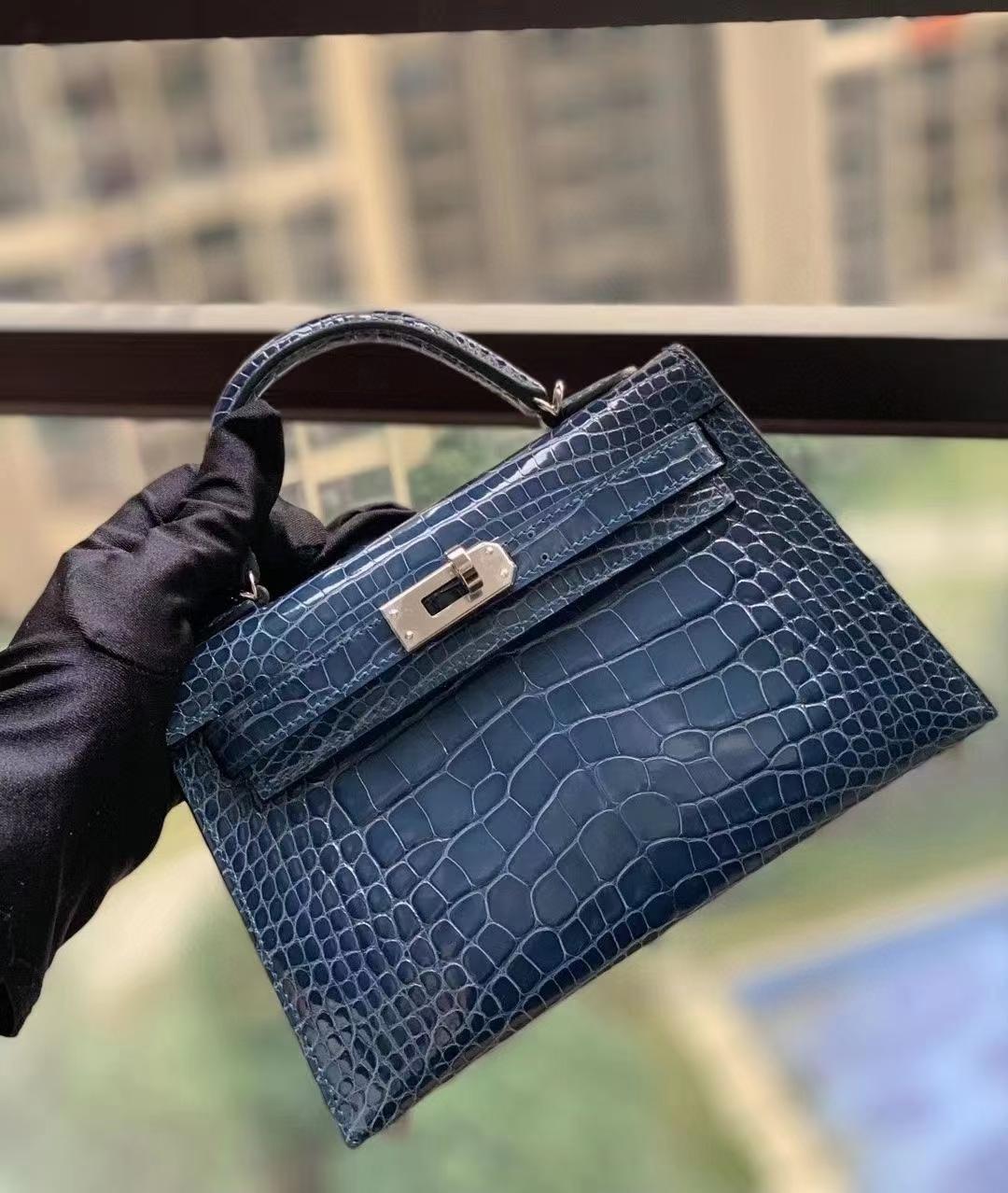 Hermès(爱马仕)N7风暴蓝 美洲鳄 Mini Kelly 二代 银扣