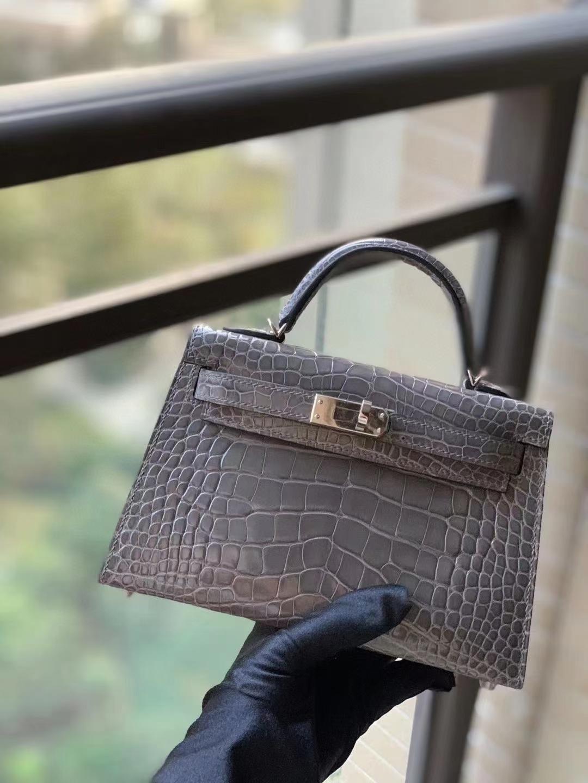 Hermès(爱马仕)M8沥青灰 原厂御用顶级鳄鱼皮 mini Kelly 二代 金扣 银扣