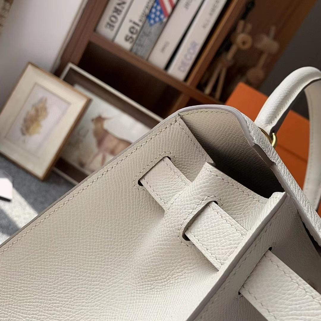 Hermès(爱马仕)奶昔白 原厂御用顶级Epsom 皮 Kelly 28 外缝 金扣