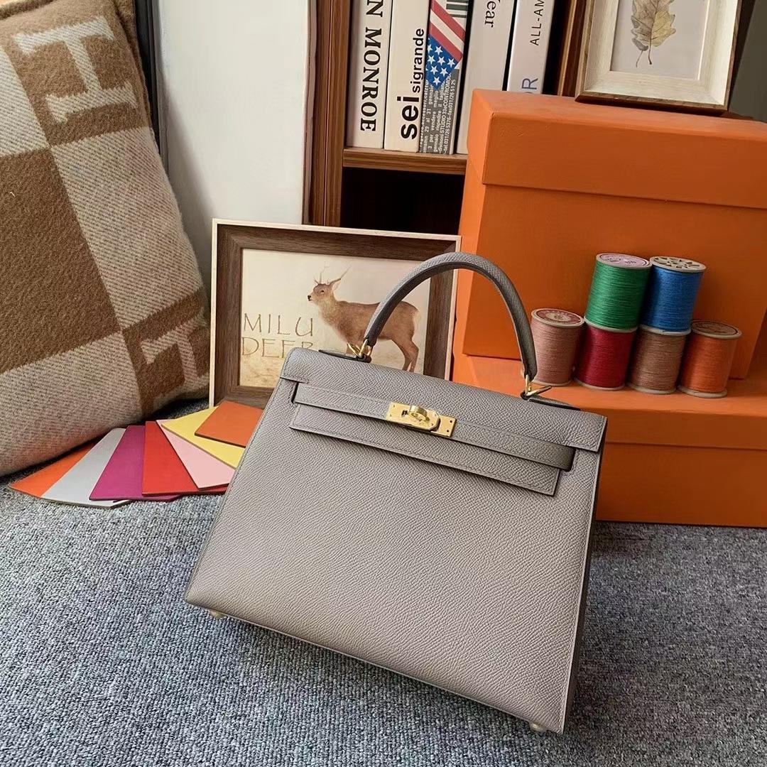 Hermès(爱马仕)M8沥青灰 原厂御用顶级Epsom 皮 Kelly 25 外缝 金扣